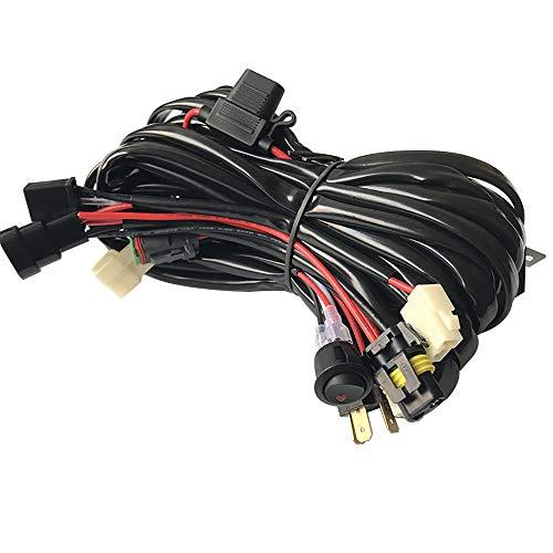 9005 HB3 H4 12V Waterproof Car LED Driving Light Wiring Harness Dual Beam