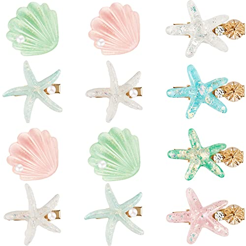 12 Pieces Artificial Shell Pearl Starfish Hair Clip Set Acrylic Resin Girl Lady Hair Clip Headdress Hairstyle Tool Accessories Beach Wedding Supplies