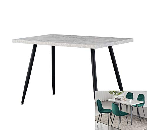 AINPECCA Dining Table with Black Metal Legs Kitchen Table (Grey Marble Effect Top, 120 * 70cm)