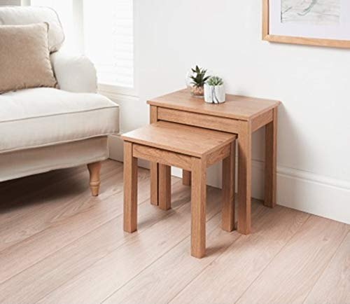 SB19 Jarvis Oak Nest Tables Wooden Nesting Table with 2 Sizes of Small & Large, Wood Grain Surface.
