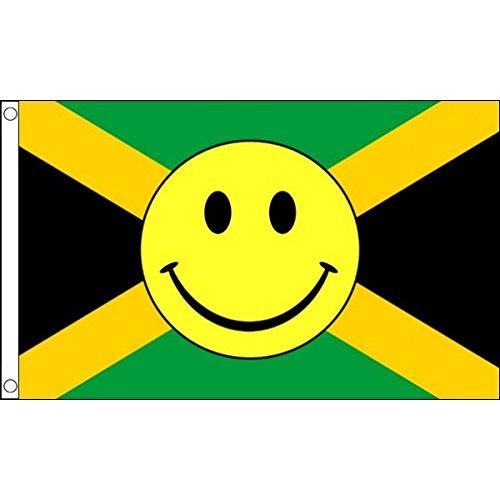 5ft x 3FT (150 x 90 cm) Jamaika Jamaikanisch Smiley Happy Face 100% Polyester Material Flagge Fahne ideal für Pub Club Schule Festival Business Party Dekoration