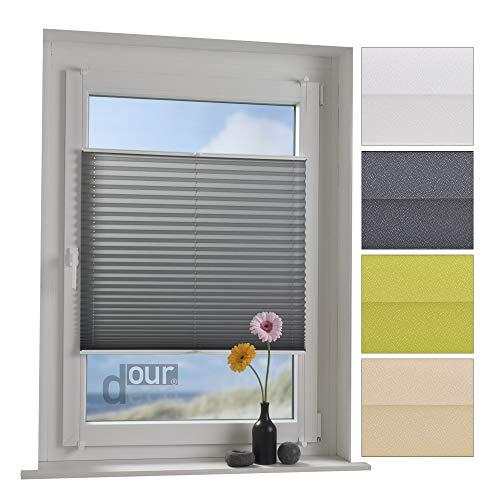 ourdeco® Plissee / 60 x 220 cm Grau/lichtdurchlässig, Blickdicht/Farben: Weiß, Grau, Grün, Ecru(Beige) / Klemmen=Montage ohne Bohren=Smartfix=Klemmfix-Plissee=Easy-to-fix