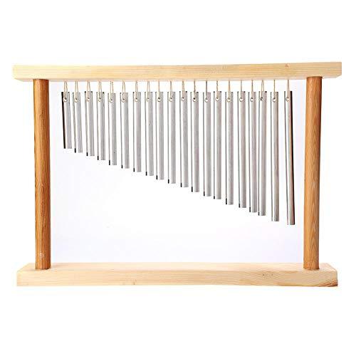 20 barras de percusión campanillas de viento, campanillas de percusión musical con soporte de madera, campanillas de viento plateadas para niños desarrollar la inspiración musical, 38,5 x 5 x 26,5 cm
