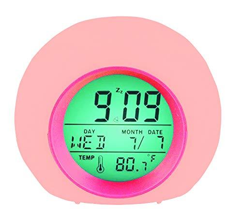 YUES Sveglia LED per Bambini, Sveglia Digitale con 6 Melodie,Luce Notturna con 8 Colori, Calendario, Termometro e Soft Touch Control,Rosa