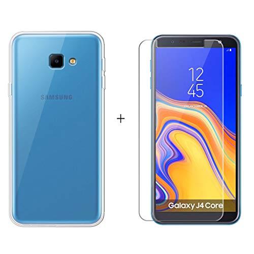 LJSM Hülle für Samsung Galaxy J4 Core Transparent Weich Silikon Schutzhülle Crystal Flexibel TPU Tasche Hülle + Panzerglas Bildschirmschutzfolie Schutzfolie für Samsung Galaxy J4 Core 2018 (6.0