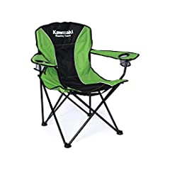 Kawasaki Folding Camping Chair Screen printed logos and TPR Patch Officially licensed product Features double cup holders, steel construction frame and polyester cover material Includes Draw string closure bag with shoulder strap