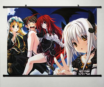High School DXD New Home Decor Cosplay Wall Scroll Poster Rias Gremory & Asia Argento & Toujou Koneko & Hyoudou Issei 23.6 X 17.7 Inches - 059