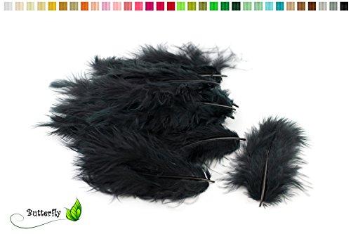 20 Flaumfedern 8-12cm (schwarz 030) // Marabufedern Bastelfedern Hühnerfedern Dekofedern Schmuckfedern Federn