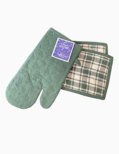 NA2 7 Pack Kitchen Set 1 Single Oven Glove, 2 Pot Mitts & 4 Kitchen Towels 100% Cotton Heat Resistant by Cotton Hutt