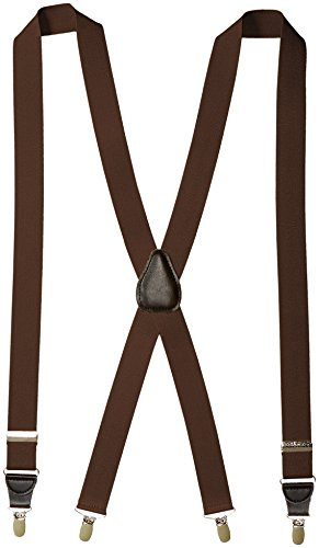 Florsheim Men's Clip On Suspenders with Leather Drop Clip 46 Inch , Brown, One Size