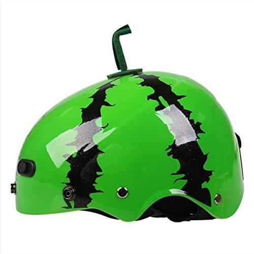 LHY SPORTS Fahrradhelm, Atmungsaktiver Belüftungshelm Für Wassermelonen Für Kinder Schutzhelm Skate Balance Fahrrad Netter Kinderbabyhelm,Grün,M