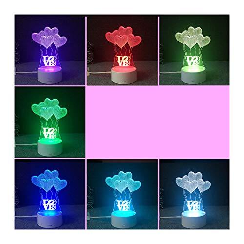 Anime Amor Corazón Luz De La Noche Colorida 3D Lámpara USB Cargando Interruptor De Contacto Dormitorio Estéreo Led Lámpara De Mesa Para Regalo De Cumpleaños Y Niños