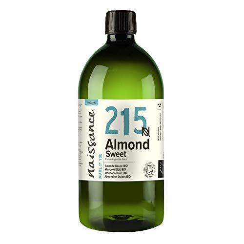 Naissance Mandelöl süß BIO (Nr. 215) 1 Liter (1000ml) - 100% rein & natürlich, BIO zertifiziert, kaltgepresst, vegan, hexanfrei, gentechnikfrei Ideal für Massagen, Haut- und Haarpflege.