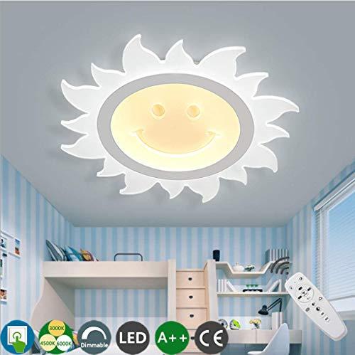 CRJ Kinderlampe LED Deckenleuchte Dimmbar Deckenlampe Mit Fernbedienung Kreative Sonne Form Warm Kinderzimmer Decken Beleuchtung Cartoon Acryl Lampenschirm Junge Mädchen Schlafzimmerlampe,52CM
