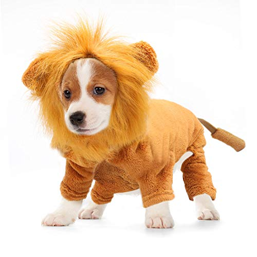 RYPET Dog Lion Costume Pet Clothes for Halloween Party Simulation Lion Pets Outfits Cosplay Dress up Costume Pet Lion Hoodie Cat Costume for Party,XL