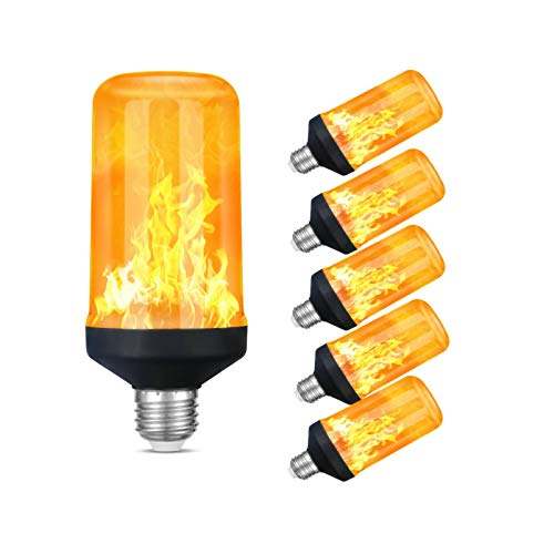 HFCDL Flame Effect Light Bulb Set, 4 Modes Decorative Fire-Lights, E26 Base Atmosphere Flickering Light Bulbs, 1600K LED Lights with Upside Down Effect, for Yard/Bar/Party, 6-Pack