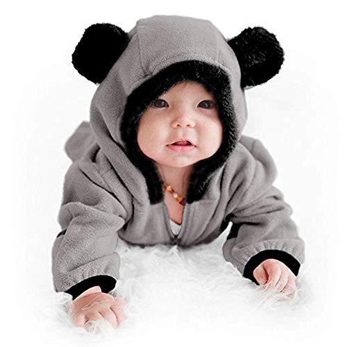 BUKINIE Nouveau-né bébé Chaud Habineige Toison Bunting Pram Automne Hiver Flanelle Capuche Romper Jumpsuit Mitten & Bootie Manchettes(Gris,3-6 Mois)