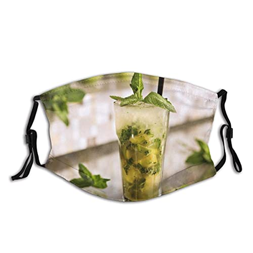 WEDA Green Mojito Cocktail Unisex dust masks, washable and reusable outdoor dust masks, special holiday funny mask gifts