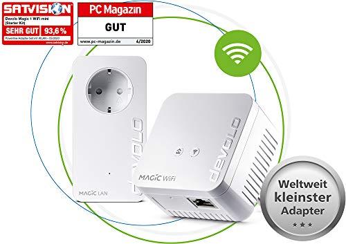 devolo Magic 1 – 1200 WiFi mini Starter Kit: Kompaktes Set mit 2 Powerline WiFi-Adaptern für sicheres Heimnetzwerk (1200 Mbit/s, 1x Fast-Ethernet LAN-Anschluss, Mesh-WLAN, G.hn-Technologie)