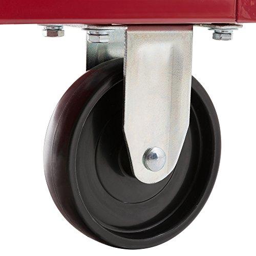 Arebos Werkstattwagen 5 Fächer/zentral abschließbar/Anti-Rutschbeschichtung/Räder mit Festellbremse/Massives Metall/rot, blau oder schwarz (rot) - 9