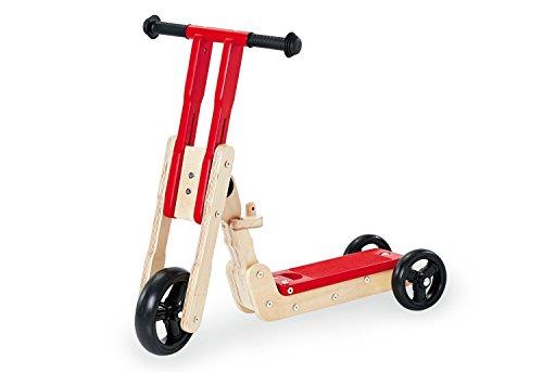 Pinolino Theo Tretloopstep, van hout, met in hoogte verstelbaar stuur, kan worden gebruikt als loopdriewieler of step roller, voor kinderen vanaf 1 jaar 1 jaar, rood/natuur