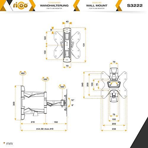 RICOO Fernseh-Halterung S3222 Flachbild-Fernseher O-LED Wohnwand LCD TV Wandhalterung Schwenkarm Flachbildschirm Fernseh-Wand-Halter VESA 200×200 - 7