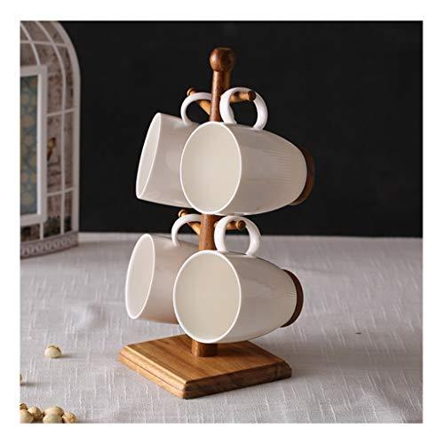 Koffieservies 4 sets - Koffiekopjes bloemen theekopje, keramische beker met massief houten cup plank, beste geschenk homepagina Dagelijks feestkantoor Afternoon Tea
