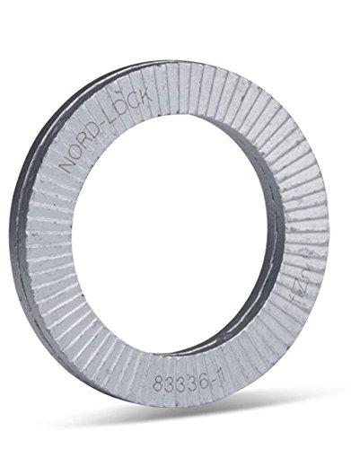 Arandelas Nord-Lock de acero, NL16 para M16 | Pares por paquete: 8 | 17 mm x 25,4 mm x 3,4 mm, de acero