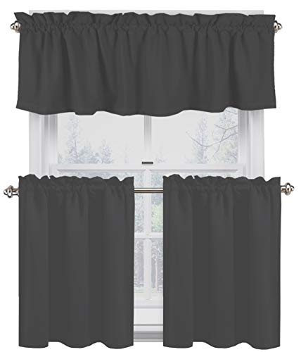Native Fab 3 Pieces Window Curtain Tiers and Valance Set - Farmhouse Vintage Kitchen Tiers and Valance Set Rod Pocket - Grey