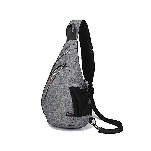 Boss Bag Outdoors Rijden Katoen Heren Borst Pack Textuur Diagonale Driehoek Tas Borstzak Fietstas Drop (Kleur: Grijs, Maat : M)