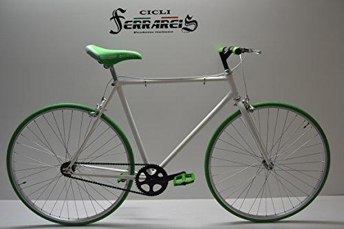 Cicli Ferrareis Fixed Bike Single Speed Bici Scatto Fisso 1v Bianco Verde Personalizzabile