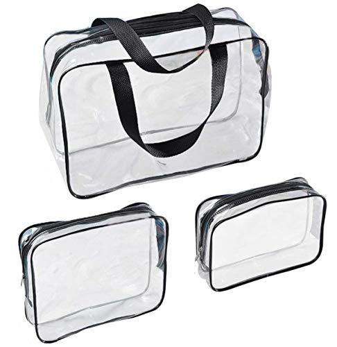 Voyage - 3 bolsas de viaje impermeables transparentes, transparentes, para avión, para cosméticos, con cremallera, neceser de viaje