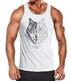 Neverless® Herren Tank-Top Wolf Polygon Kunst Grafik Tiermotiv Printshirt Muskelshirt Muscle Shirt weiß S