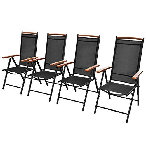 CASTLOVE Gartenstühle Klappbar 4 STK. Aluminium und Textilene Schwarz