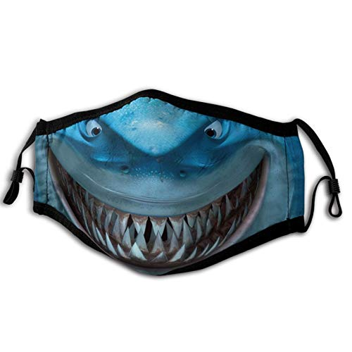 Face Mask for Adult, Cartoon Sharks Funny Design Washable Reusable Adjustable Unisex Women Men