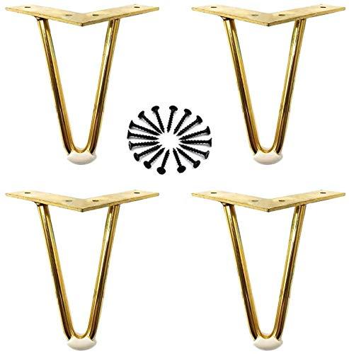WANGPP Patas de Muebles, Patas de Metal para Mesa, pies de gabinete deslizantes Resistentes al Desgaste, para gabinetes, sillones, reposapiés o Almohadillas para los pies (con Accesorios de Montaje)