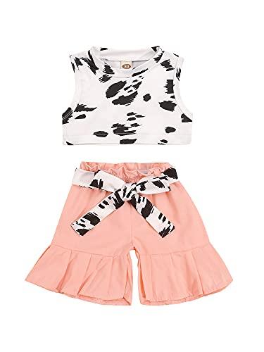 Conjunto de 2 piezas de estilo dulce para niñas pequeñas, diseño de vaca creativa, cuello redondo, sin mangas, chaleco corto + pantalones cortos de encaje
