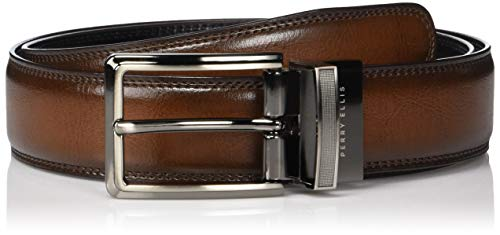 Perry Ellis Men's Portfolio Double Stitched Reversible Belt, Brown/Black, 36