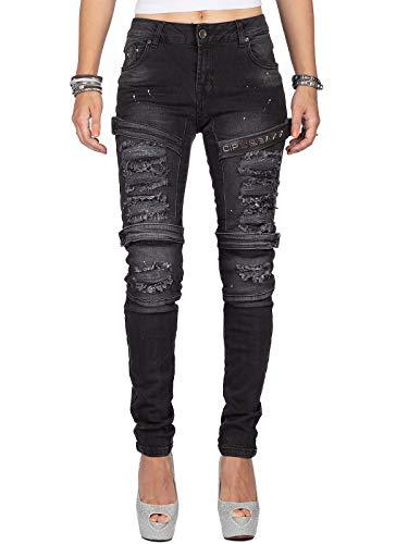 Cipo & Baxx Damen Jeans WD383-bans Schwarz W27/L32