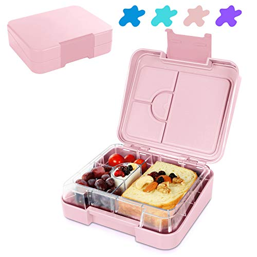 Fiambrera Lunch Bento Box Niños con 5 Compartimentos Microondas y Lavavajillas sin BPA Fiambrera Termica (Rosa)