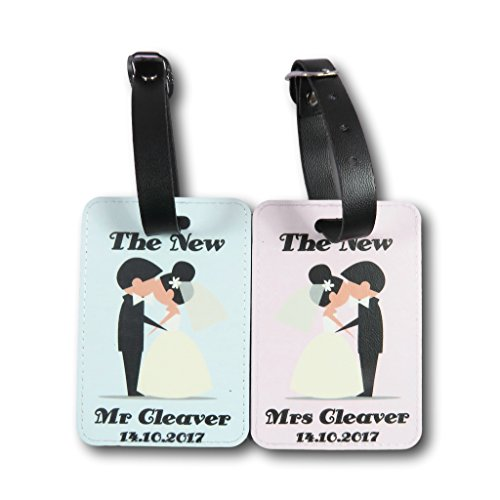 Personalised mr and mrs PU Luggage Tags Wedding Present Holiday Suitcase Wedding Present Honeymoon Gift Travelling Gift Anniversary Present