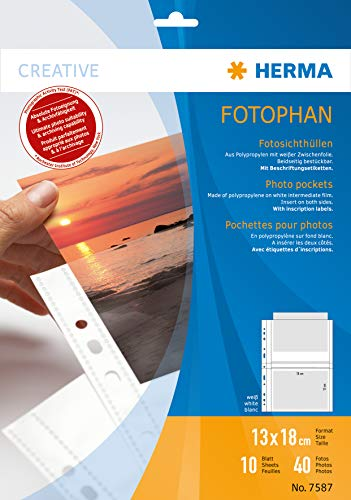 HERMA 7587 Fotophan Fotosichthüllen weiß (13 x 18 cm quer, 10 Hüllen, Folie) mit Beschriftungsetiketten und Eurolochung für Ordner und Ringbücher, beidseitig bestückbare Fotohüllen