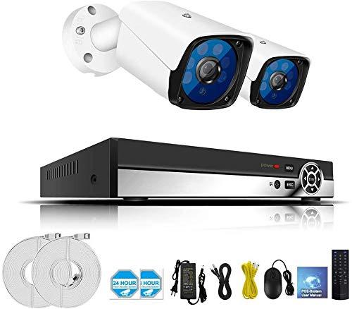 L.TSA 5MP H.265 Full HD Home Sistema de cámara CCTV inalámbrico Sistema de Kit de videovigilancia Sistema de cámara de Seguridad NVR WiFi con Disco de Disco Duro de 2TB (2/4/6/8 CH), 2CH