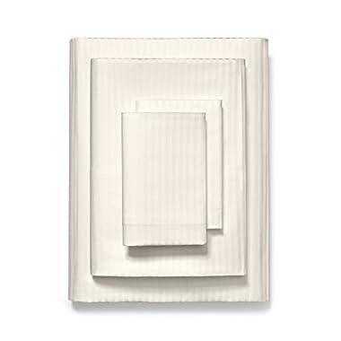 Boll & Branch King Size Sheets | Fair Trade & GOTS Certified Single Ply Long Staple Organic Cotton Striped Ivory Sheet Set