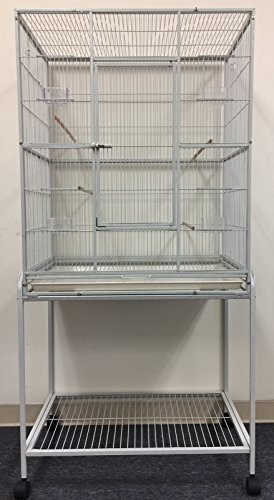 Mcage Large Wrought Iron Flight Breeding Canary Parakeet Cockatiel Lovebird Finch Bird Flight Cage with Removable Stand, 32-Inch by 19-Inch by 64-Inch (32' L x 19' W x 64' H, White Vein)