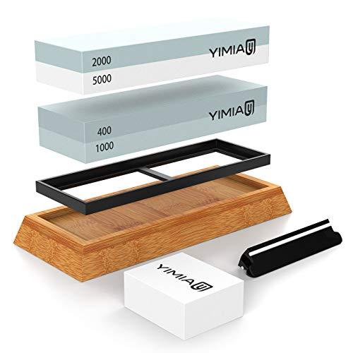 Preisvergleich Produktbild Abziehstein Schleifstein Set,  YIMIAY 2-in-1 Wetzstein mit 400 / 1000 2000 / 5000 Körnung,  Abziehstein für Messer inkl. Gummi-Steinhalter sowie Bambus Basis und Messer-Halter und Läppstein