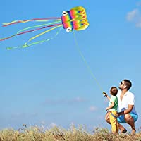 Kupton 2 Pack Kites Kit, 5M Large Octopus Kite and Rainbow Delta Kite with Beautiful Tails for Kids and Adults, Easy to…