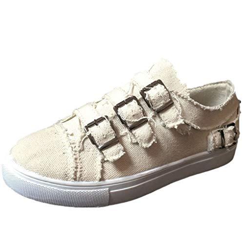 Dorical Unisex Damen Herren Canvas Sneaker Low Übergrößen mit Metallschnalle,Slip-on Roundtip Flache Vintage Schuhe aus Gummi Größe 35-43 Reduziert(Beige,40 EU)