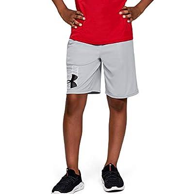 Under Armour Boys' Prototype Logo Shorts, Mod Gray (011)/Black, Youth X-Large
