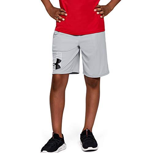 Under Armour Boys' Prototype Logo Shorts , Mod Gray (011)/Black , Youth Medium